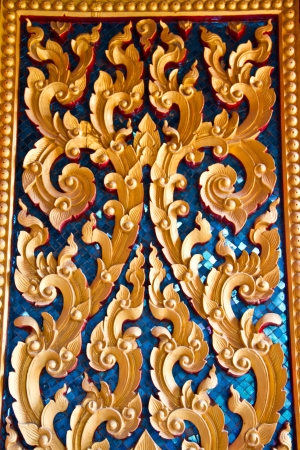 Carving wood in thai temple Stock Photo