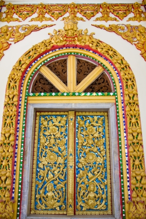 Art on window thai temple, Wat Prathatnongbua at Ubonratchathani Province Thailand photo