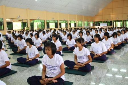 merit: Thai Student Merit Ascetic in thai temple