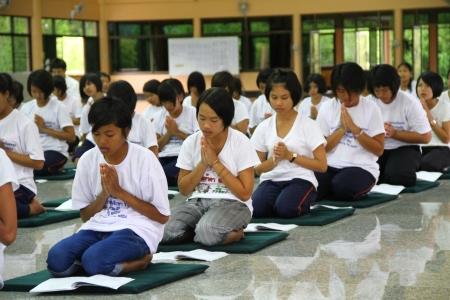 Thai Student Merit Ascetic in thai temple