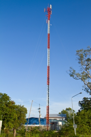 Residential tower with antennas of cellular communication photo
