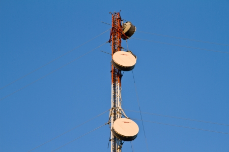 high frequency: Residential tower with antennas of cellular communication