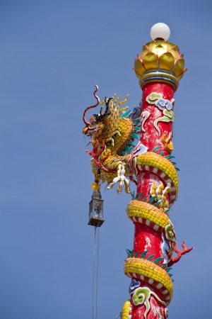 Chinese style dragon statue in the temple photo