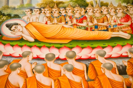 Thai style painting on temple wall about Vessantara allegory, Buddha s biography at province one of Thailand Редакционное