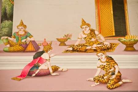 Thai style painting on temple wall about Vessantara allegory, Buddha s biography at province one of Thailand Editorial