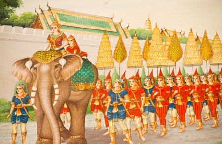 Thai stye painting on temple wall about Vessantara allegory, Buddha s biography at province one of Thailand Editorial