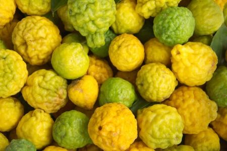Kaffir lime Or Bergamot Fruit,This Fruit is Like Amazing Herb in Thailand photo