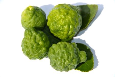 Kaffir lime Or Bergamot Fruit Isolated On White,This Fruit is Like Amazing Herb in Thailand Stock Photo - 16468174
