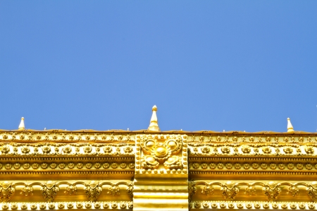 Detail on gate of temple , Maha Chedi Chaimongkol, Roi et Province Thailand photo