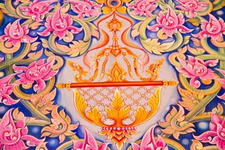 Painting Art Thai Style Temple, Chaimongkol pagoda, Roi et Province Thailand