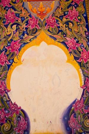 thai style: Painting Art Thai Style Temple, Chaimongkol pagoda, Roi et Province Thailand