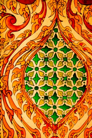 Thai style work art in Temple, Chaimongkhol Pagoda, Thailand