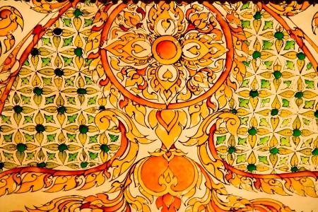 Thai style work art in Temple, Chaimongkhol Pagoda, Thailand