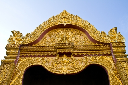 Thai Style Art at Chaimongkol pagoda, Roi et Province Thailand photo
