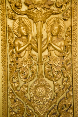 Thai Style Art at Chaimongkol pagoda, Roi et Province Thailand photo