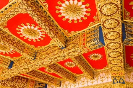 Thai Style Ceiling Art at Chaimongkol pagoda, Roi et Province Thailand Stock Photo - 16722235