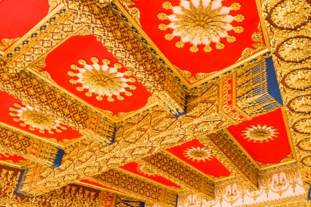 Thai Style Ceiling Art at Chaimongkol pagoda, Roi et Province Thailand Stock Photo - 16722232