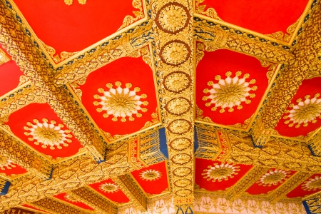 Thai Style Ceiling Art at Chaimongkol pagoda, Roi et Province Thailand Stock Photo - 16722233