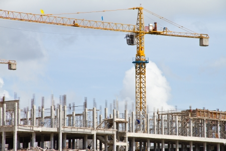 Construction crane on the site Stock Photo