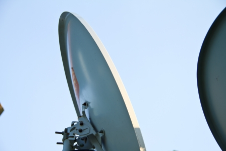 Satellite information signals are sent to space photo