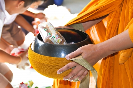 food offerings to Buddhist monks photo