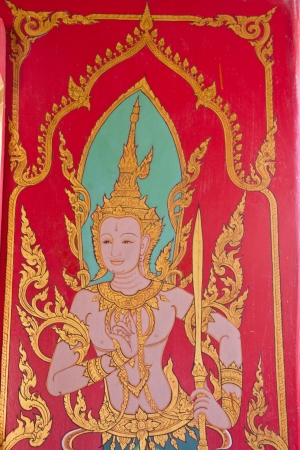 Thai style art at temple, Wat Laib, Ubonratchathani Province, Thailand photo