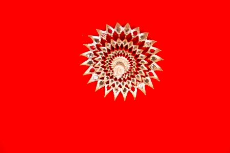 3rd ancient: Thai temple ceiling on red background