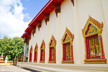 Style art on window of thai temple, Wat Liab, Ubonratchathani , Thailand Stock Photo - 17440998