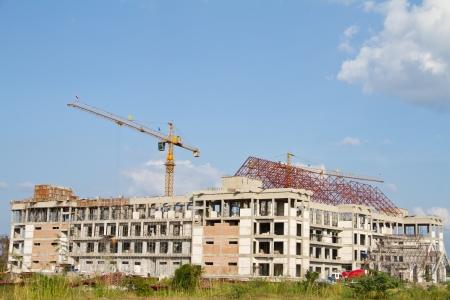 Crane construction site, Thailand Фото со стока