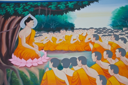 instructing: Traditional Thai mural painting the Life of Buddha  Instructing the assembly of Arahants  on temple at Wat Nongsanom on May 13, 2013 in Ubonratchathani, Thailand