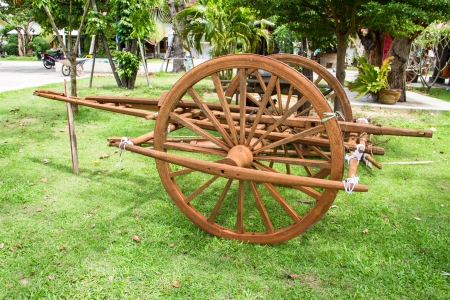 Wooden cart Thai Style in Thailand Garden Stock Photo - 22134395