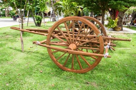 Wooden cart Thai Style in Thailand Garden Stock Photo - 22134395