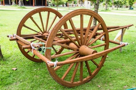 Wooden cart Thai Style in Thailand Garden Stock Photo - 22134398
