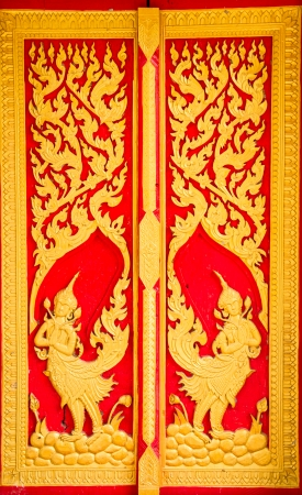Thai style art at temple, Ubonratchathani Province, Thailand Stock Photo - 22612344