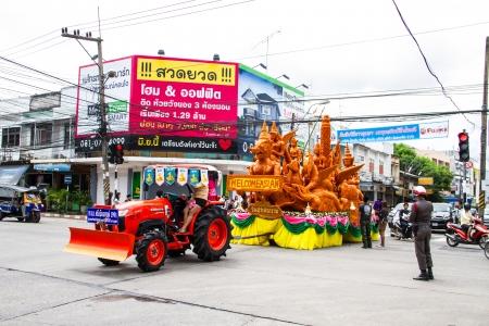 orenge: Artistic of candle festival in Uborachathani, Thailand