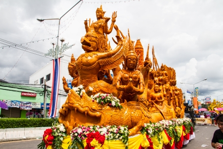 Artistic of candle festival in Uborachathani, Thailand