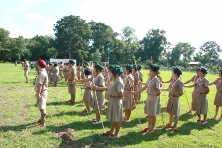 thai boy: Thai Boy Scout and girl scout in parade, Camp activities as part of the study Editorial