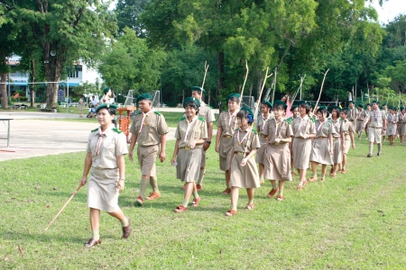 Thai Boy Scout and girl scout in parade, Camp activities as part of the study Редакционное