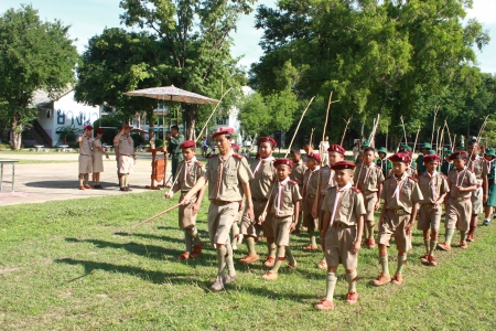 thai boy: Thai Boy Scout in parade, Camp activities as part of the study