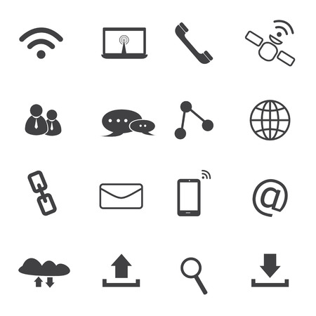 communication icons set with white background Vector