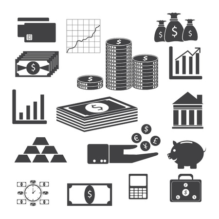 Finance and money icons with white background Vector