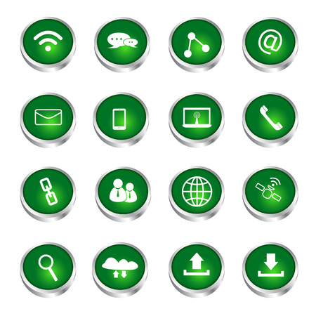 communication icons green glossy buttons Vector