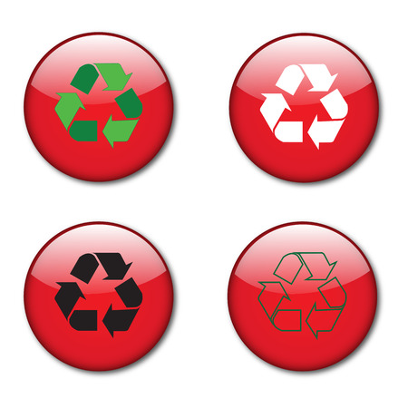 recycle sign buttons red glossy Vector