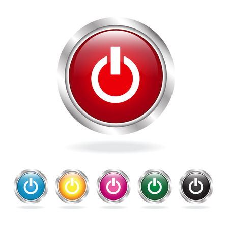 Glossy power button set Vector