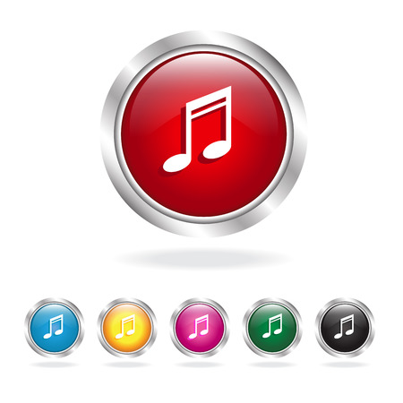 Red glossy music icons set Vector