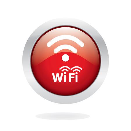 icono wifi: Icono de Wifi, Rojo brillante