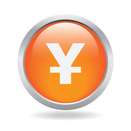 yen currency orange circle web icon on white background Vector