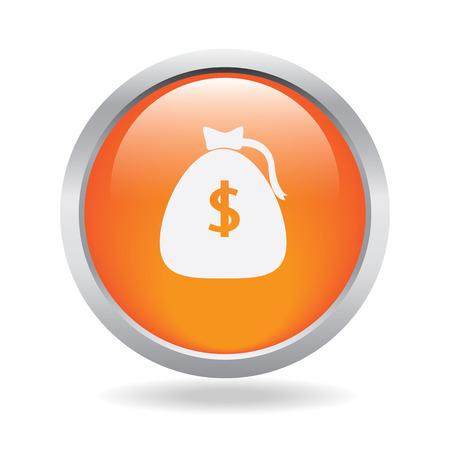 money orange circle glossy whit white background Vector