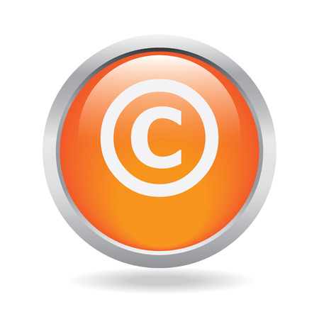Copyright icon on a orange glassy button isolated over white  Vector