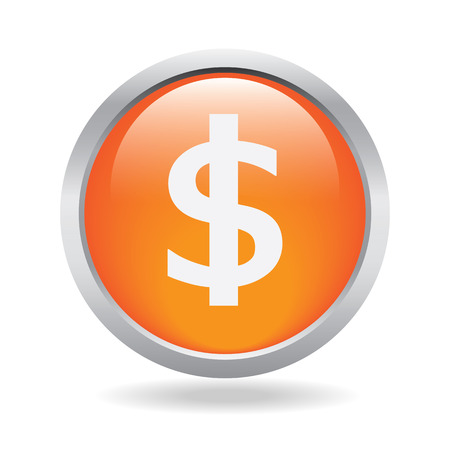 Dollar currency button on white background Vector